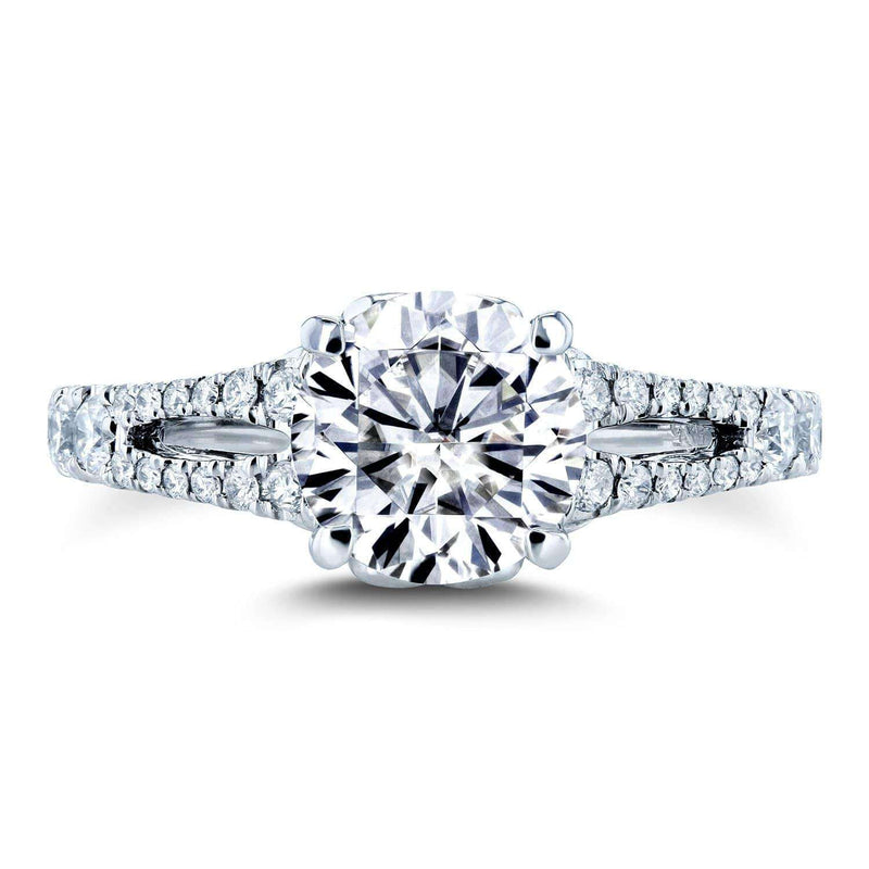Kobelli Moissanite (DEF) and Diamond Vintage Filigree Engagement Ring 1 7/8 TCW 14k White Gold