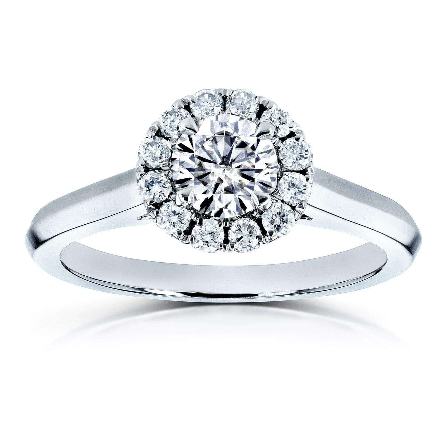 Reviews Moissanite (DEF) and Diamond Halo Cathedral Setting Engagement Ring 3/4 CTW 14k White Gold - 5.5