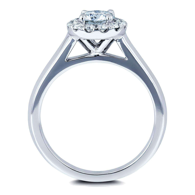Kobelli Moissanite (DEF) and Diamond Halo Cathedral Setting Engagement Ring 3/4 CTW 14k White Gold