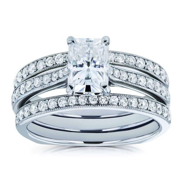 Kobelli Radiant Forever One Moissanite DEF and Diamond Square Shank Trellis 3-Piece Bridal Rings Set 1 4/5 TCW 14k White Gold
