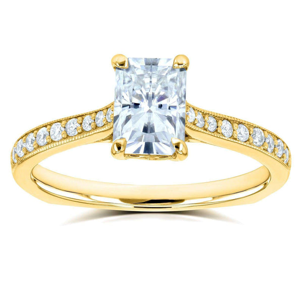 Kobelli Radiant Moissanite (DEF) and Diamond Vintage Trellis Engagement Ring 1 2/5 CTW 14k Yellow Gold