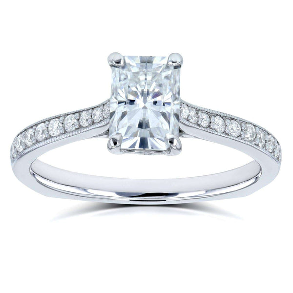 Kobelli Radiant Moissanite (DEF) and Diamond Vintage Trellis Engagement Ring 1 2/5 CTW 14k White Gold