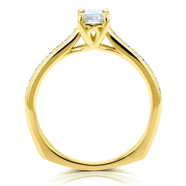 Kobelli Emerald Moissanite (DEF) and Diamond Vintage Trellis Engagement Ring 3/4 CTW 14k Yellow Gold