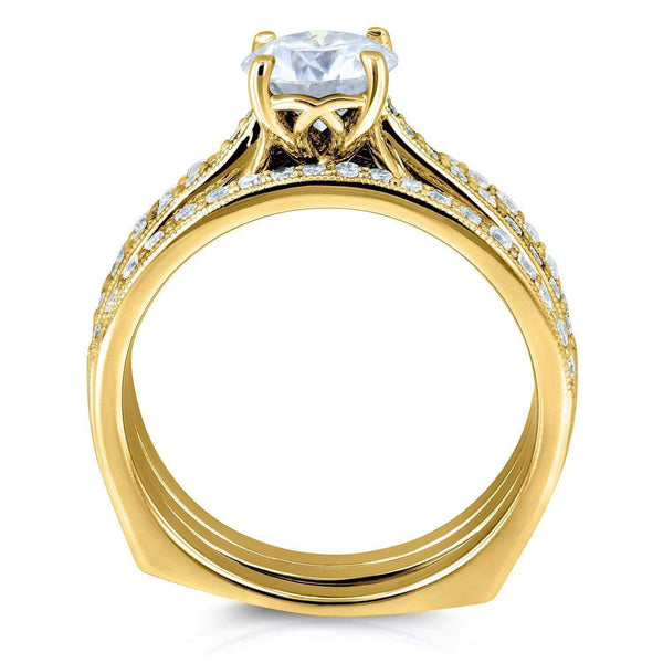 Kobelli Round Forever One Moissanite and Diamond Square European Shank Vintage Trellis Bridal Set 1 3/5 CTW 14k Yellow Gold