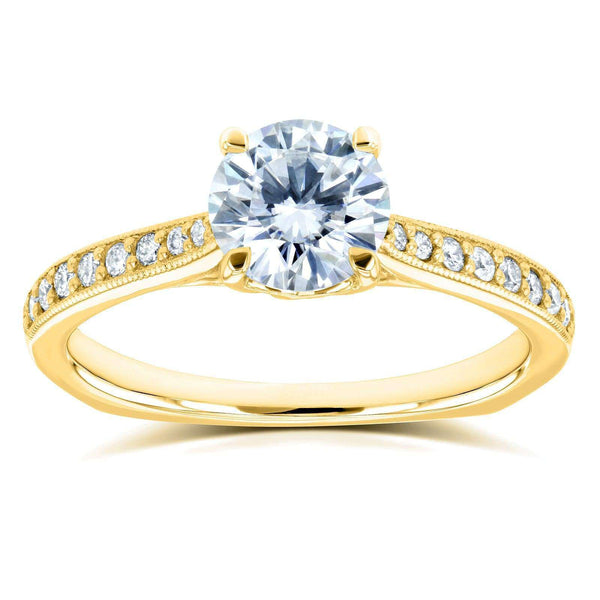 Kobelli Round Moissanite (DEF) and Diamond Vintage Trellis Engagement Ring 1 1/5 CTW 14k Yellow Gold