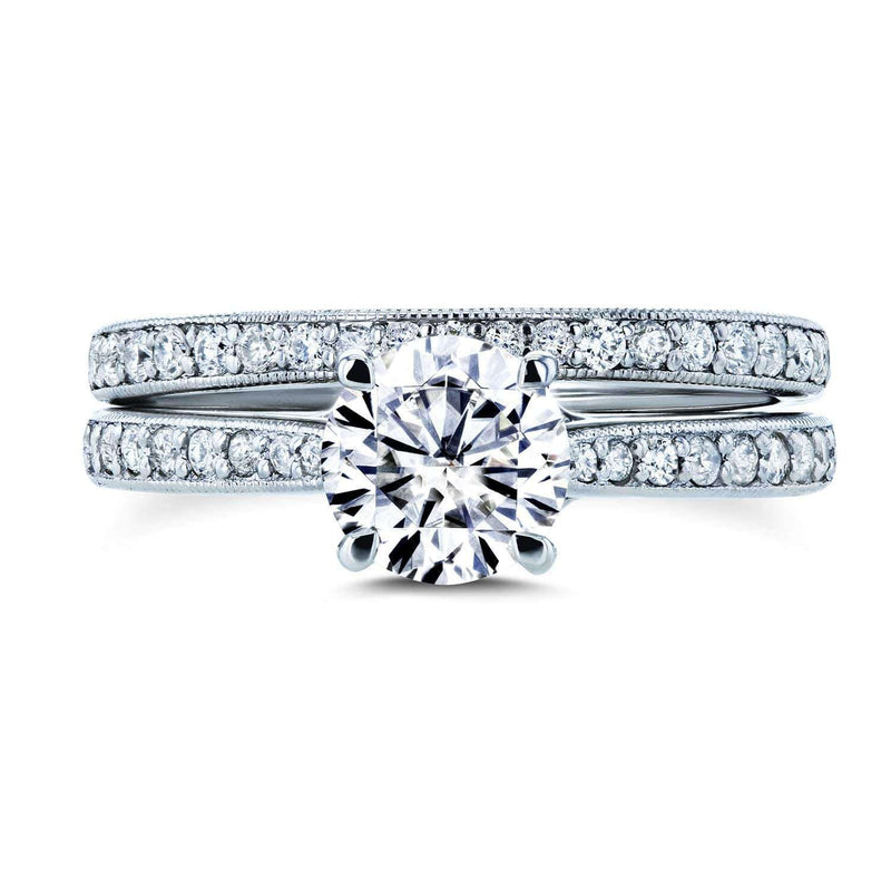 Kobelli Round Forever One Moissanite and Diamond Square European Shank Vintage Trellis Bridal Set 1 3/5 CTW 14k White Gold