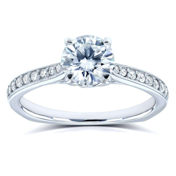 Kobelli Round Moissanite (DEF) and Diamond Vintage Trellis Engagement Ring 1 1/5 CTW 14k White Gold