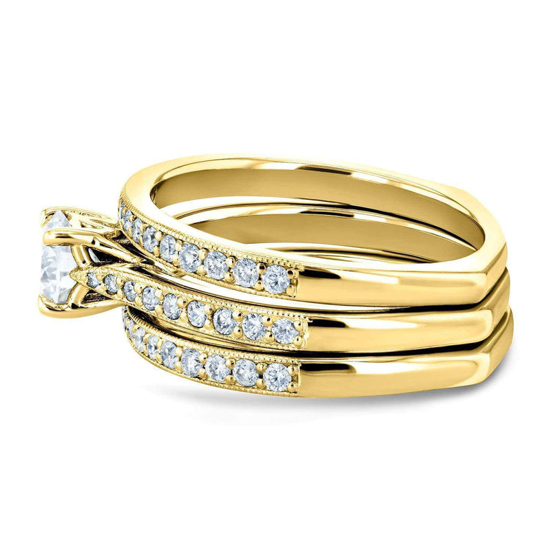Kobelli Round Forever One Moissanite and Diamond Square European Shank Vintage Trellis 3 Piece Bridal Set 1 CTW 14k Yellow Gold