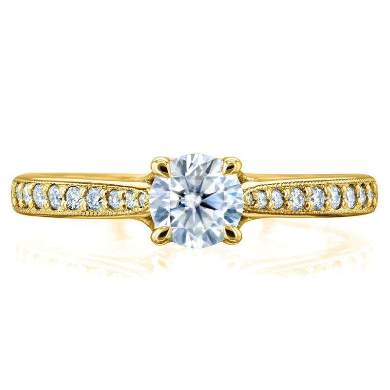 Kobelli Round Moissanite and Diamond Square Shank Trellis Engagement Ring 5/8 CTW 14k Yellow Gold (DEF/VS, GH/I)