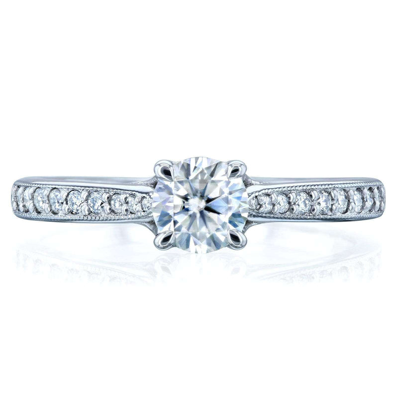 Kobelli Round Moissanite and Diamond Square Shank Trellis Engagement Ring 5/8 CTW 14k White Gold (DEF/VS, GH/I)