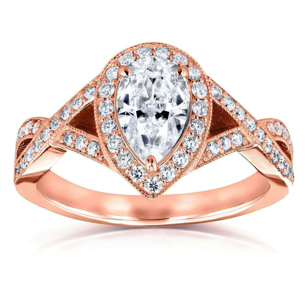 Kobelli Pear Moissanite and Diamond Halo Crossover Engagement Ring  1 1/3 CTW 14k Rose Gold (DEF/VS, GH/I)