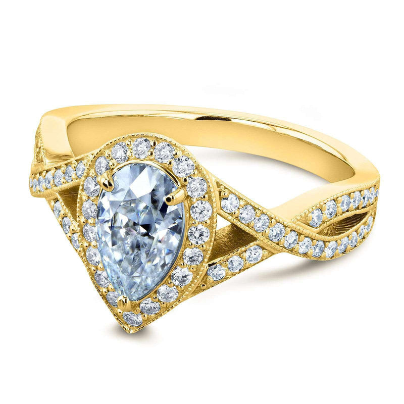 Kobelli Pear Moissanite and Diamond Halo Crossover Engagement Ring  1 1/3 CTW 14k Yellow Gold (DEF/VS, GH/I)