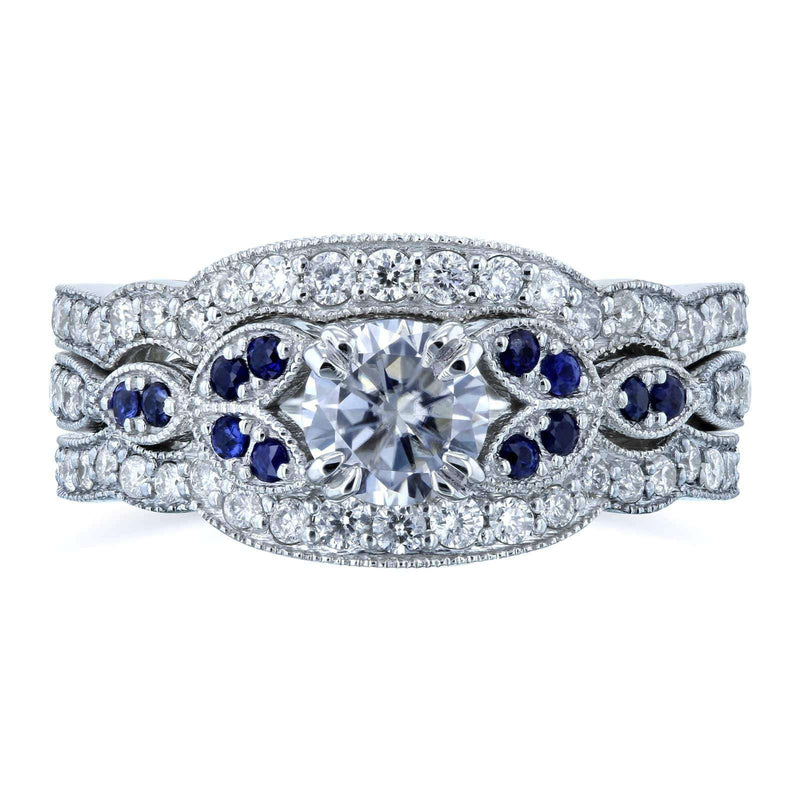 Kobelli Floral Round Moissanite Double Band Bridal Set with Diamond and Sapphire 1 CTW 14k White (DEF/VS, GH/I, Blue)