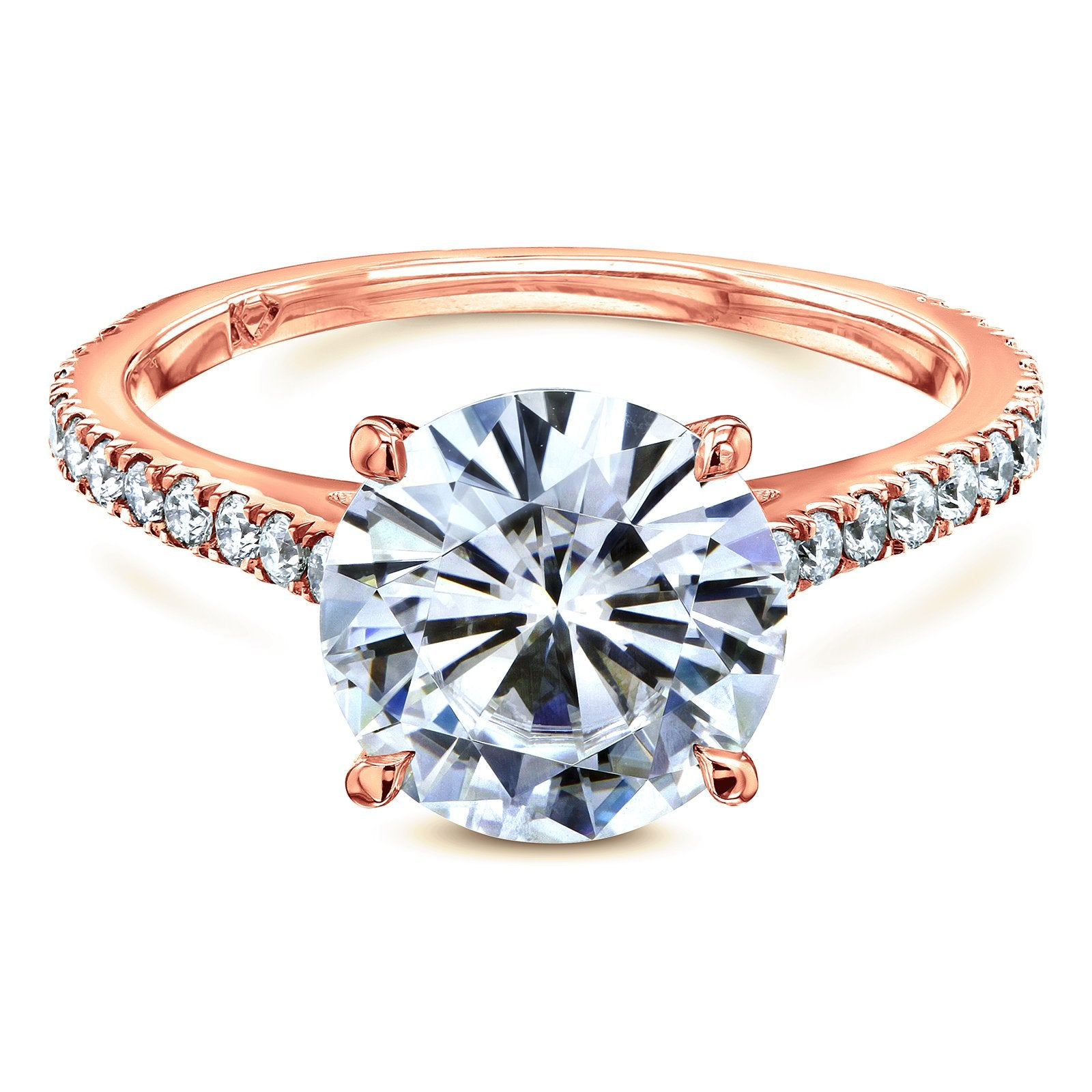 Reviews Basket Cathedral 9mm Moissanite and Diamond Ring - 6.5 rose-gold Kobelli F-G