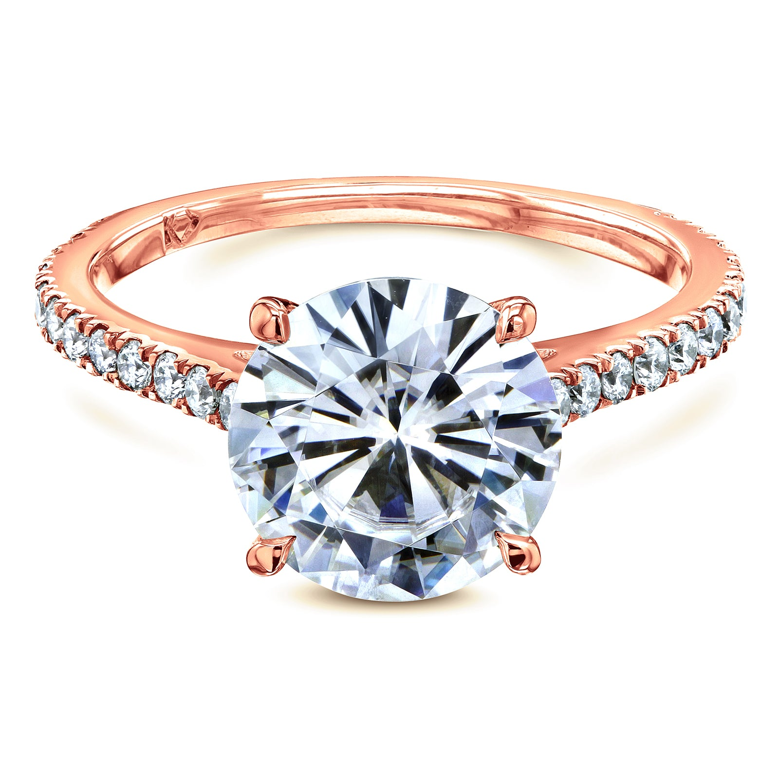 Top Basket Cathedral 9mm Moissanite and Diamond Ring 14k Rose Gold - 5