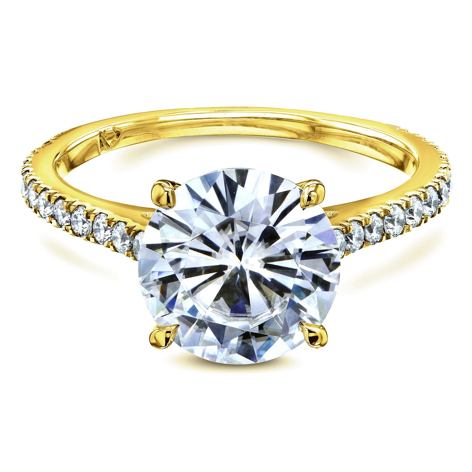 Top Basket Cathedral 9mm Moissanite and Diamond Ring - 4.0 yellow-gold Kobelli H-I