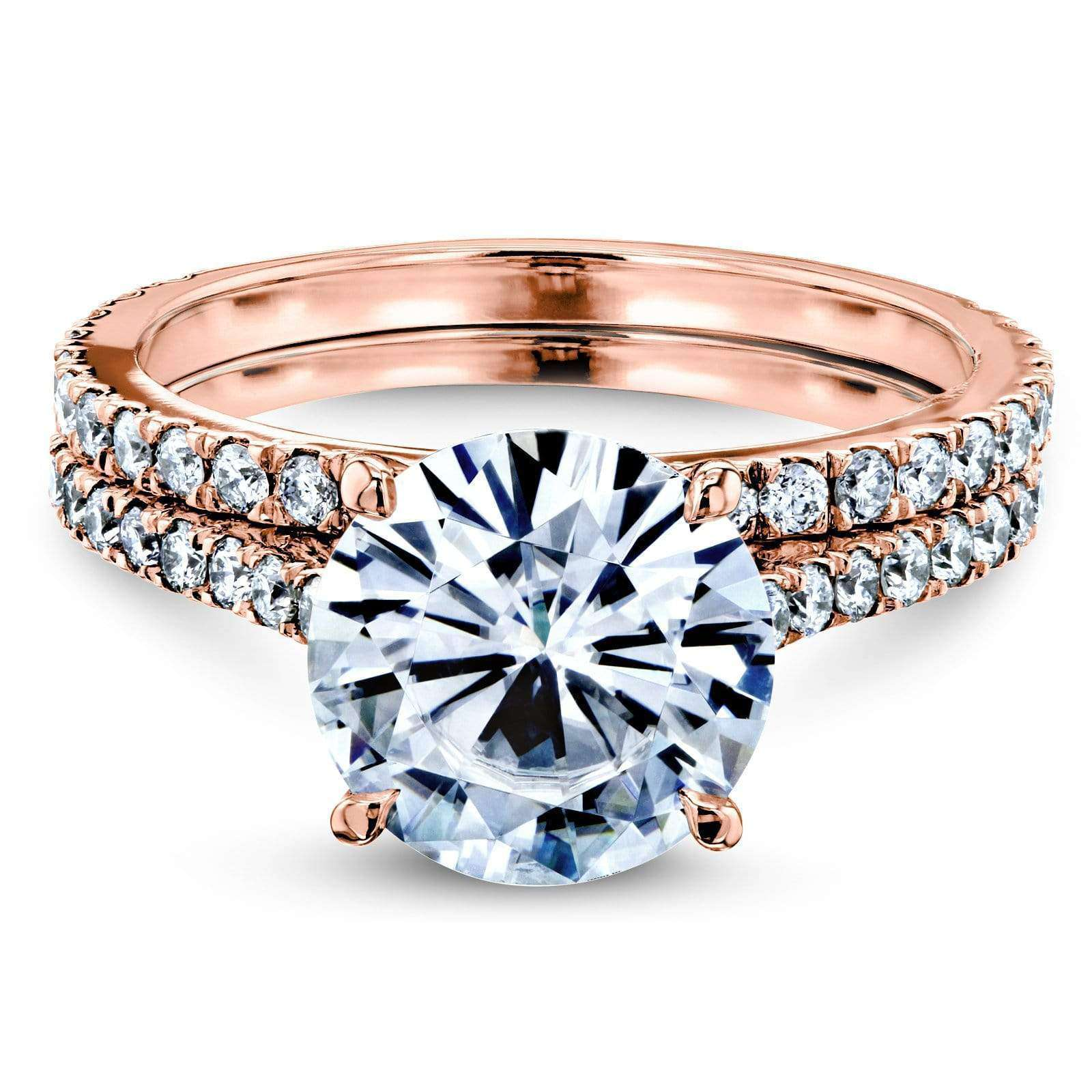 Compare Basket Cathedral 9mm Moissanite and Diamond Rings 14k Rose Gold (HI/VS GH/I) - 6