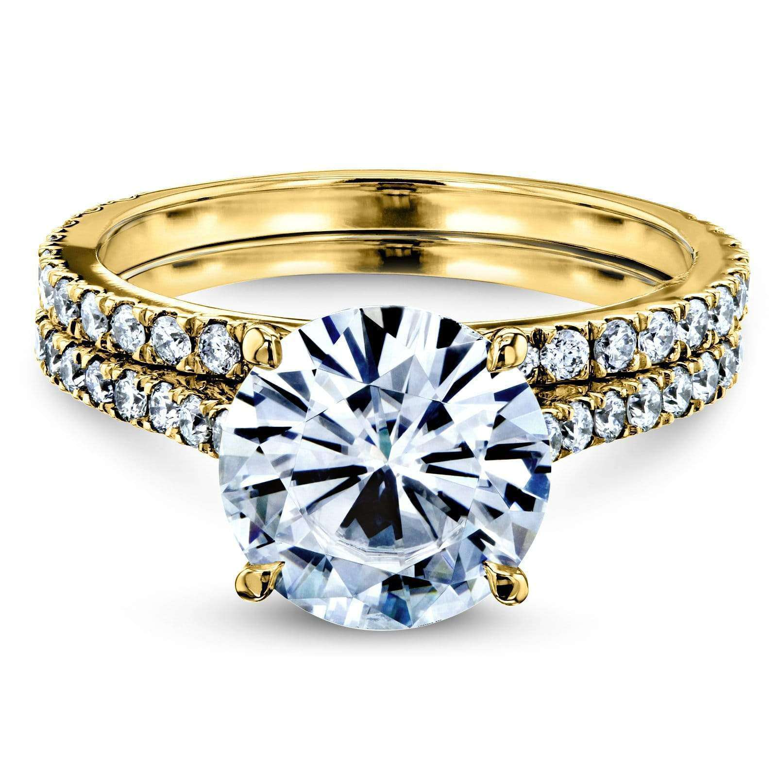 Top Basket Cathedral 9mm Moissanite and Diamond Rings 14k Yellow Gold (HI/VS GH/I) - 7