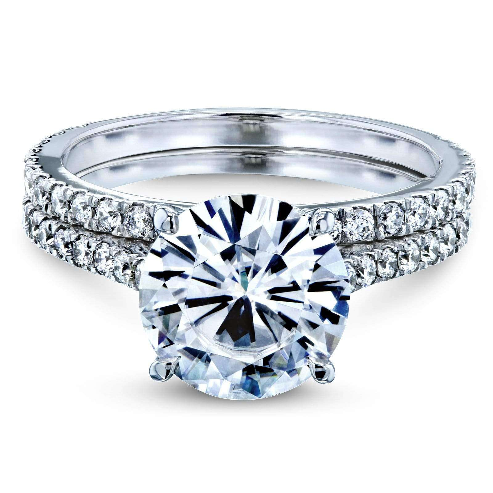 Compare Basket Cathedral 9mm Moissanite and Diamond Rings 14k White Gold - 10.5