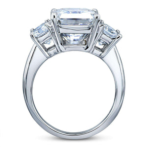 6 3/4 Carats Radiant Moissanite 3-Stone Statement Ring 14k White Gold
