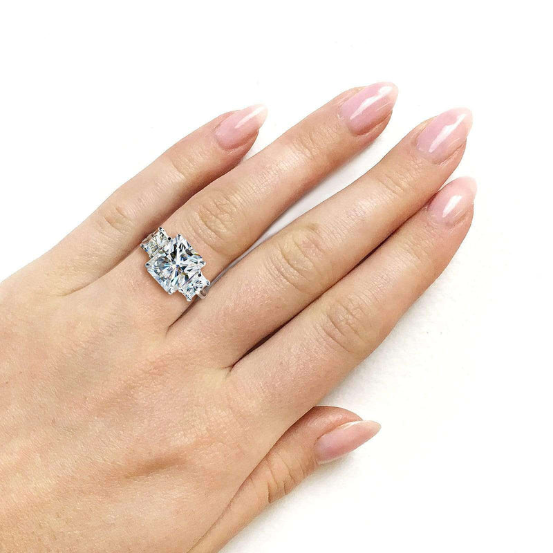 Kobelli 6 3/4 Carats Radiant Moissanite 3-Stone Statement Ring 14k White Gold