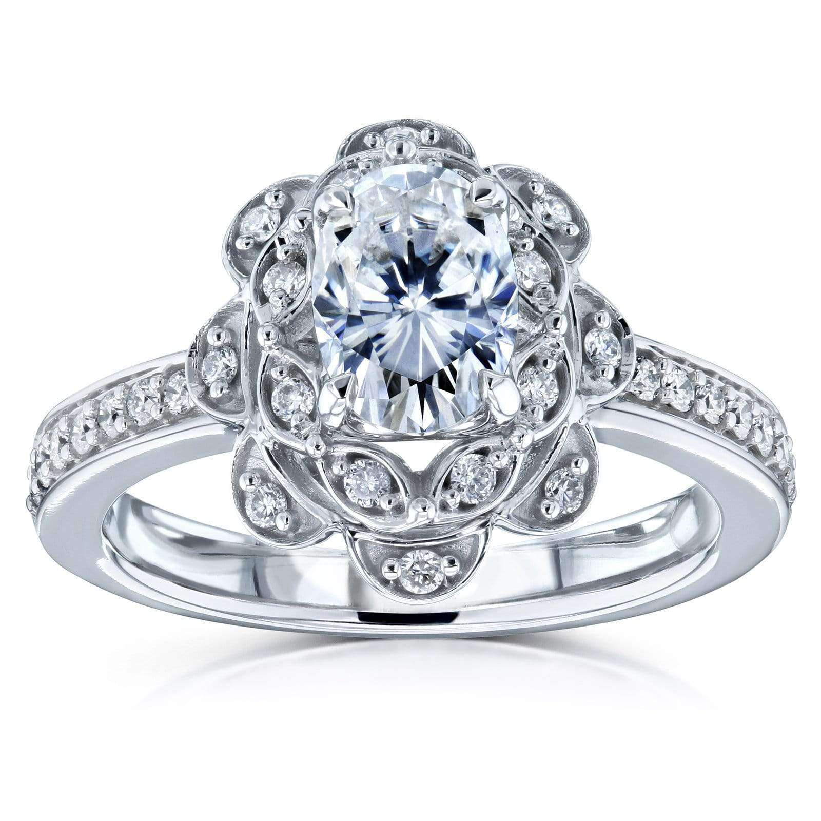 Best Oval Moissanite and Diamond Halo Floral Vintage Engagement Ring 1 1/6 CTW 14k White Gold (DEF/VS GH/I) - 4.5