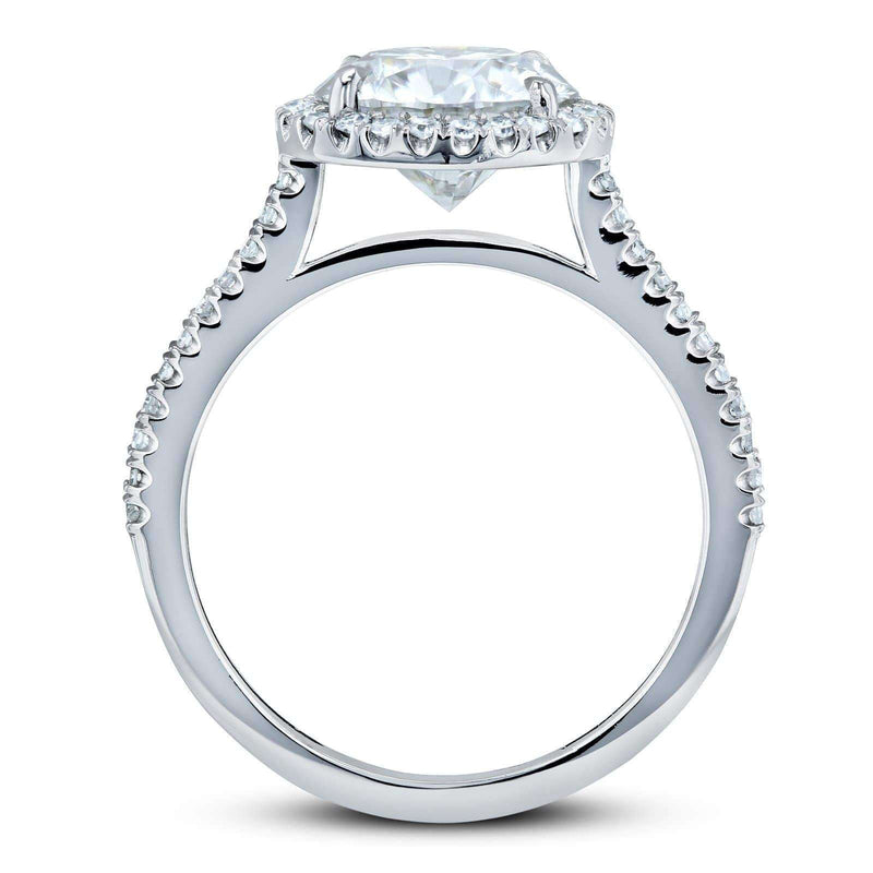 Kobelli Round Brilliant Forever One Moissanite and Diamond Halo Engagement Ring 2 1/6 CTW 14k White Gold (DEF/VS, GH/I)