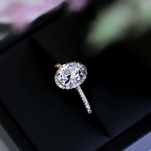Oval Moissanite and Diamond Halo Engagement Ring 2 1/4 CTW 14k Rose Gold
