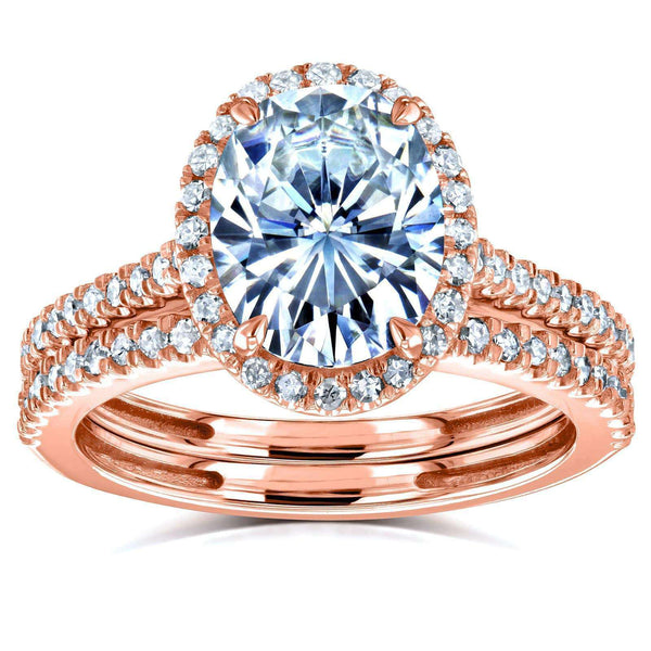 Kobelli Oval Forever One Moissanite and Diamond Halo Bridal Rings Set 2 3/8 CTW 14k Rose Gold (DEF/VS, GH/I)