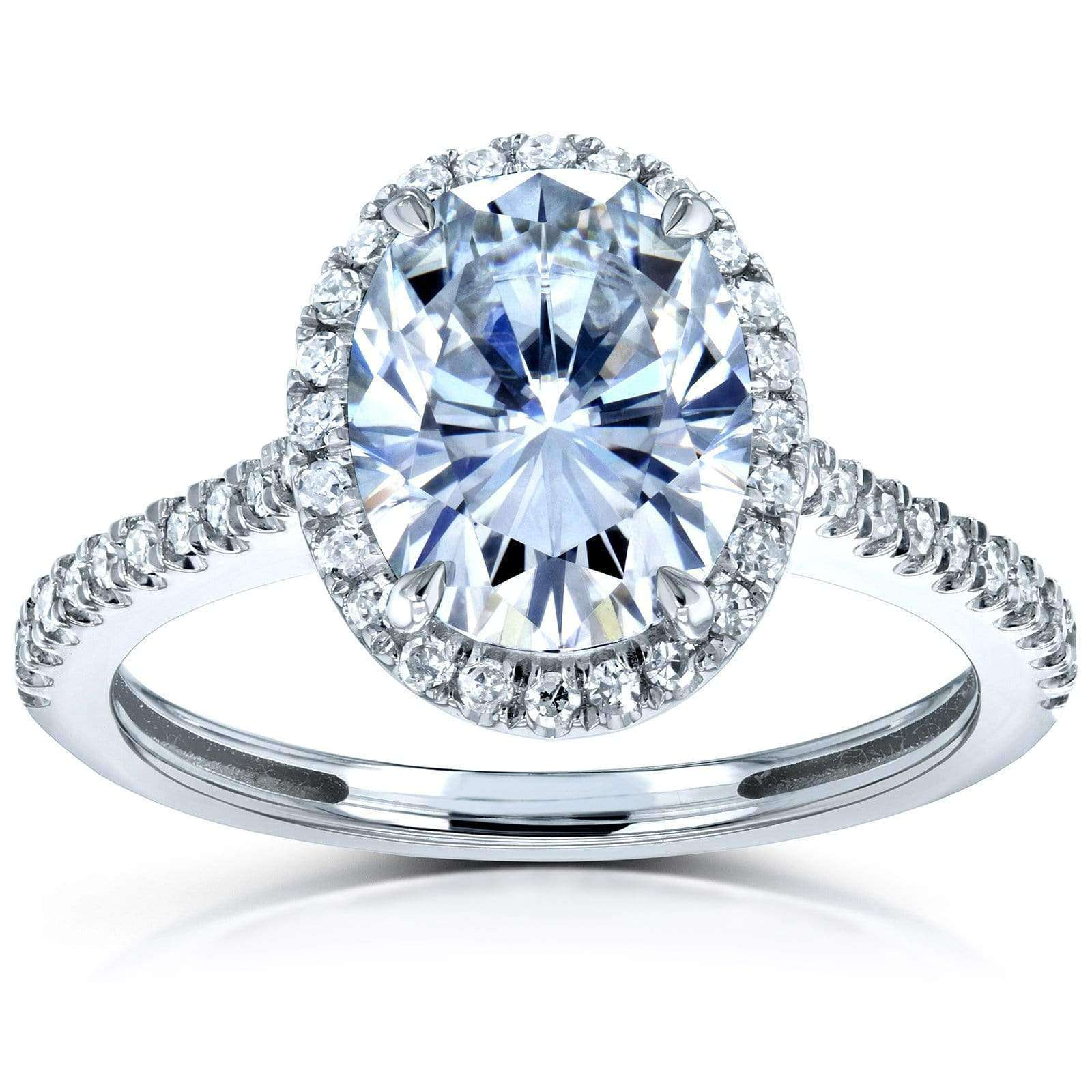 8d2a31ed034 Forever One Oval Moissanite and Diamond Halo Engagement Ring 2 1/4 CTW 14k  White Gold (DEF/VS, GH/I)