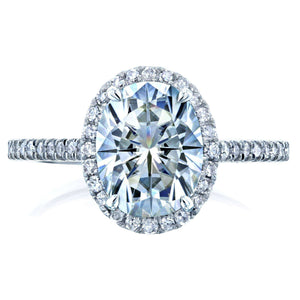 Kobelli Forever One Oval Moissanite and Diamond Halo Engagement Ring 2 1/4 CTW 14k White Gold (DEF/VS, GH/I)