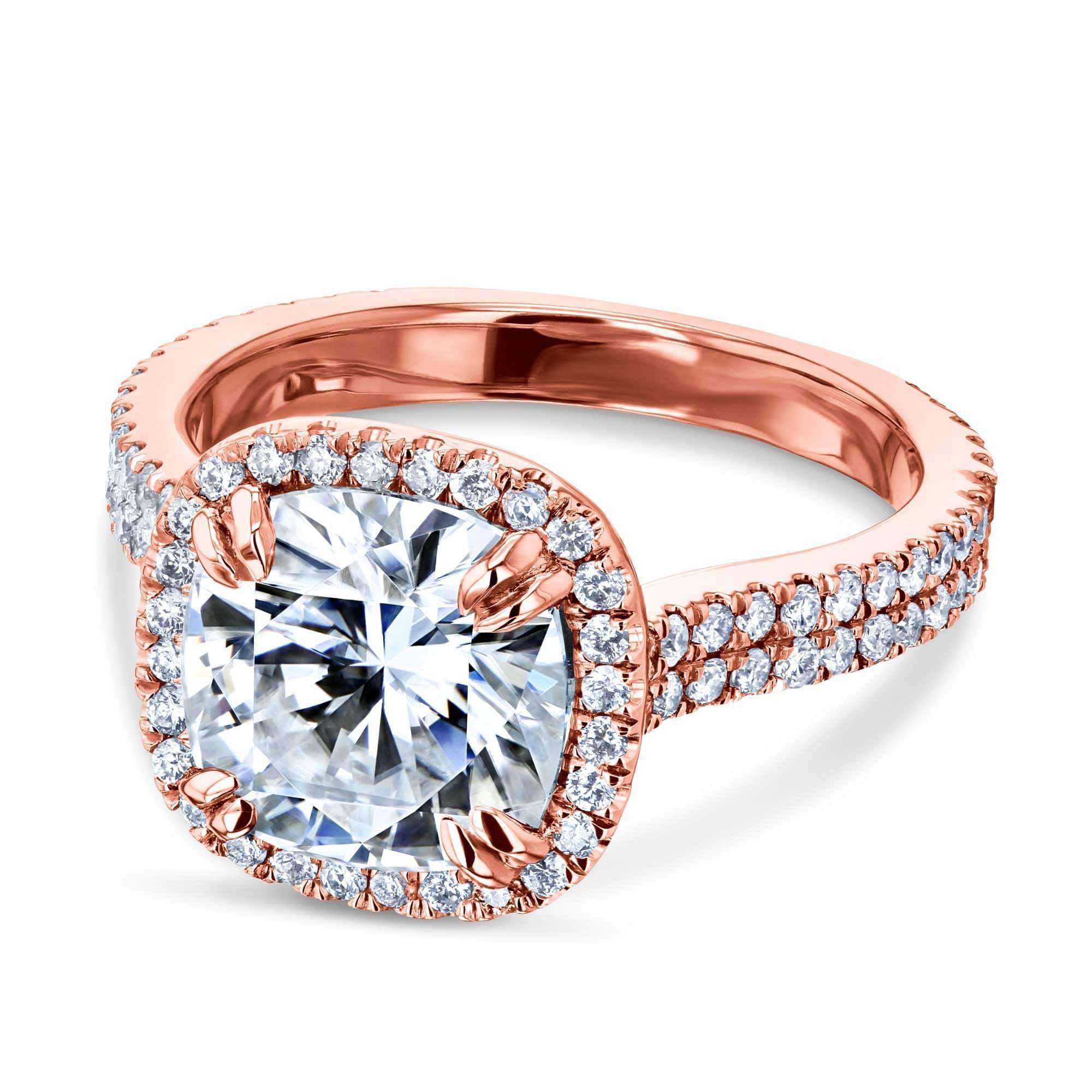 Reviews 2.8ct Moissanite Ring & Diamond Head Halo 14k Gold - rose-gold 7 Kobelli H-I