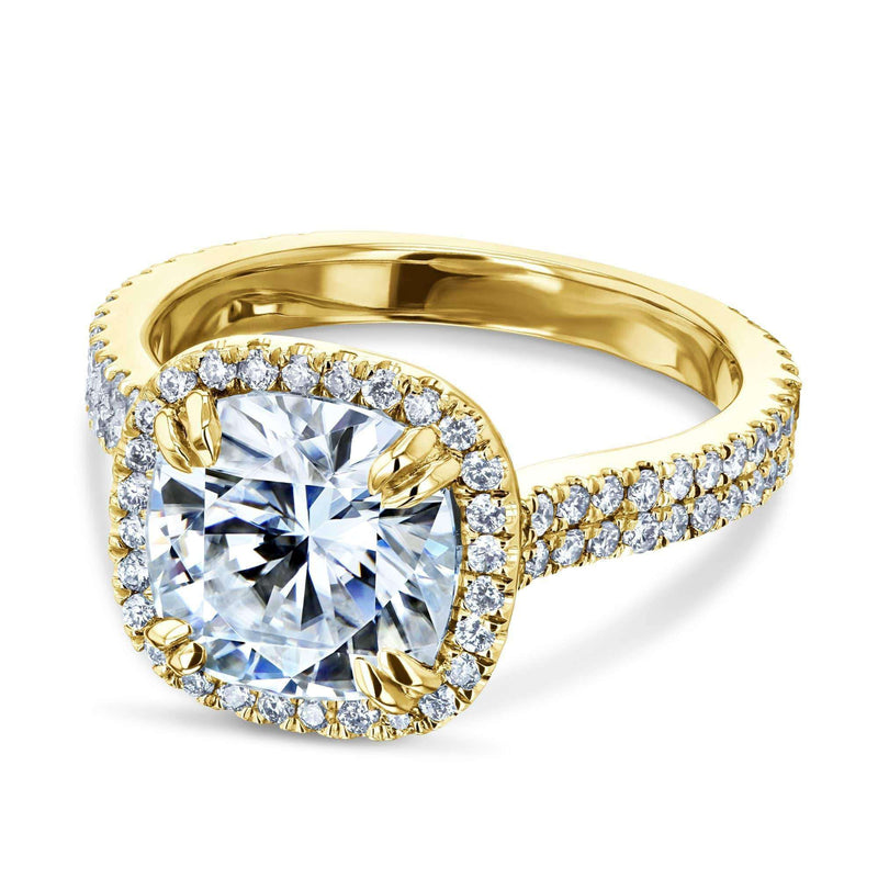 Kobelli 2.8ct Forever One Moissanite Ring & Diamond Head Halo 14k Gold MZFO62647CU-E/4.5Y