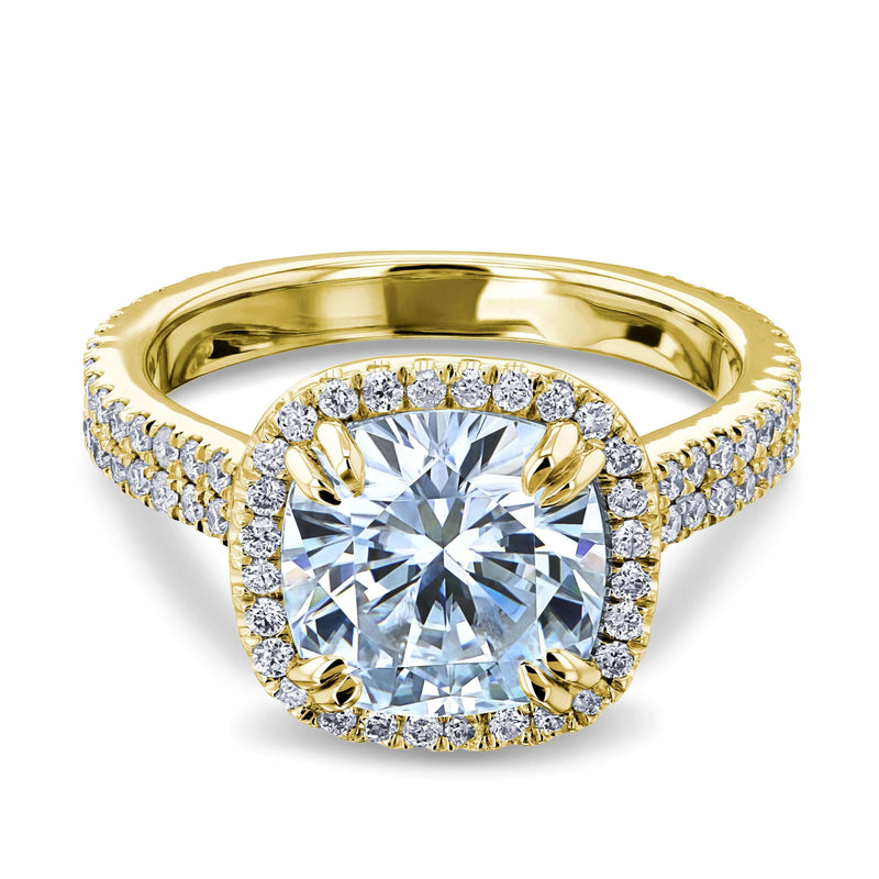 Kobelli 2.8ct Forever One Moissanite Ring & Diamond Head Halo 14k Gold