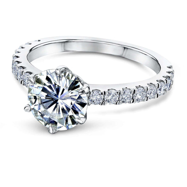 Kobelli 6-Prong 1.9ct Forever One Moissanite Ring, Platinum