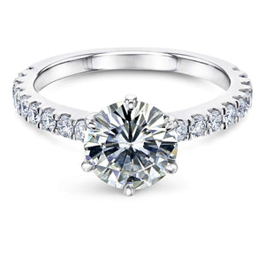 6-Prong 1.9ct Forever One Moissanite Ring, Platinum