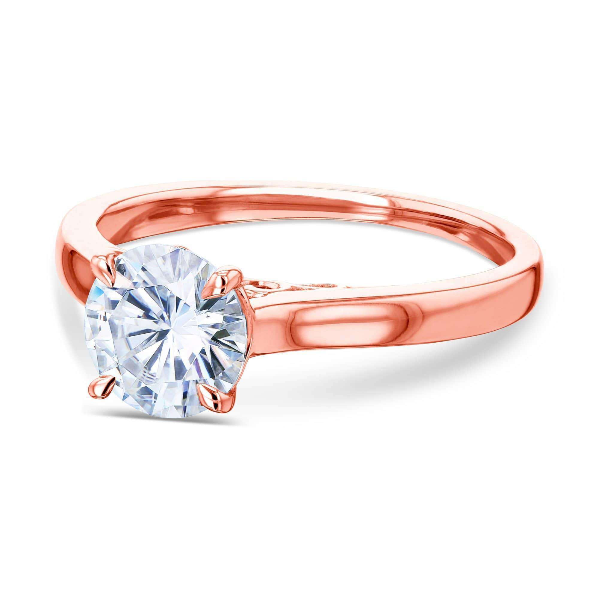 Coupons 1ct Round Forever One Moissanite Volutes W-Head Ring - rose-gold 9.0
