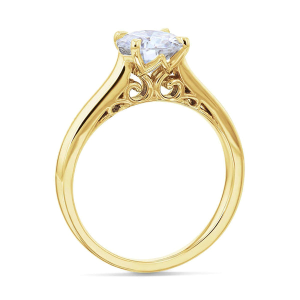 Kobelli 1ct Round Moissanite Volutes W-Head Ring