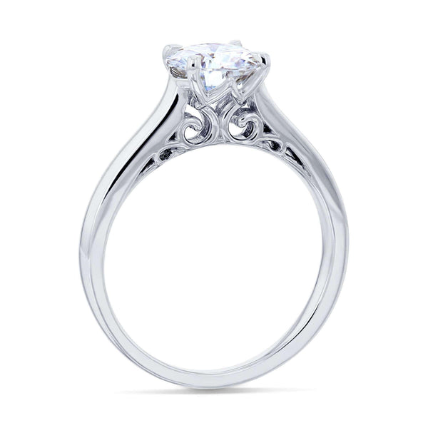 Kobelli 1ct Round Forever One Moissanite Volutes W-Head Ring