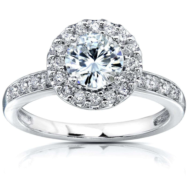 Kobelli Forever One (D-F) Moissanite & Halo Diamond Engagement Ring 1 1/4 CTW 14k White Gold