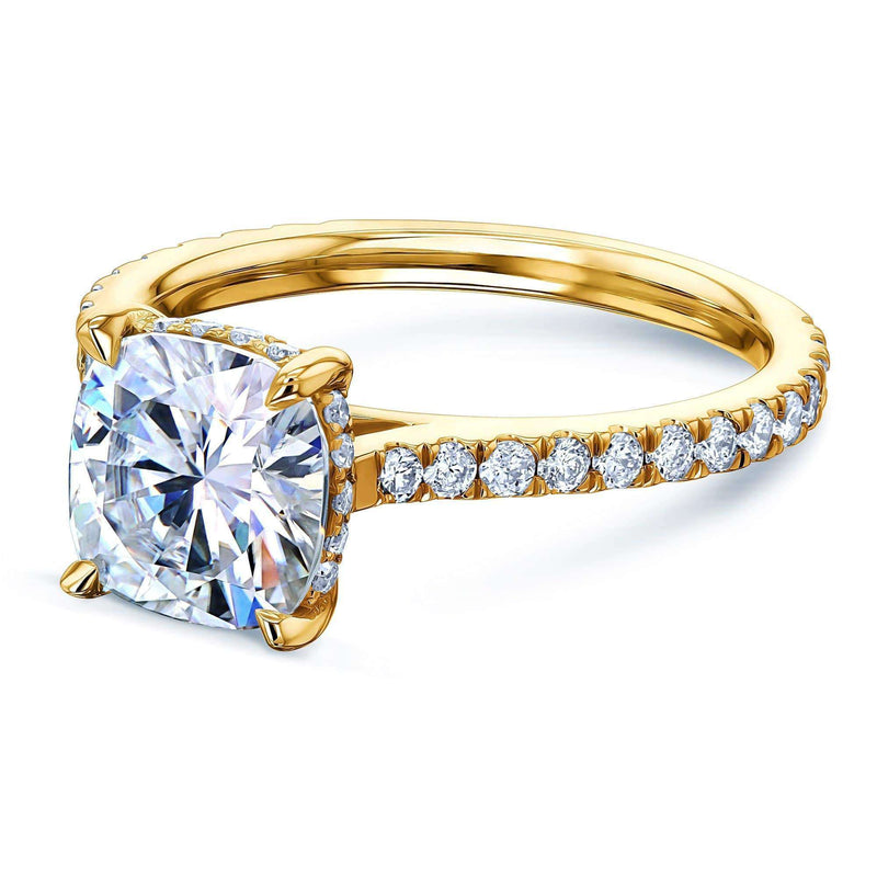 Kobelli 2ct Cushion Forever One Moissanite Drop Halo Ring