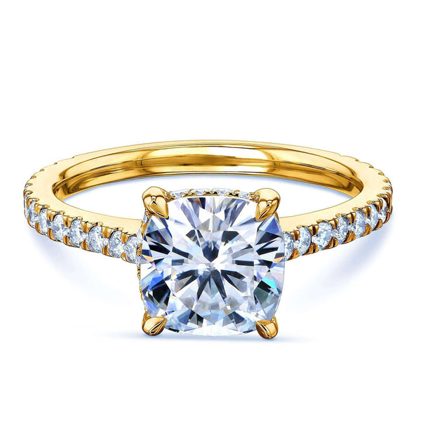 Kobelli 2ct Cushion Moissanite Drop Halo Ring
