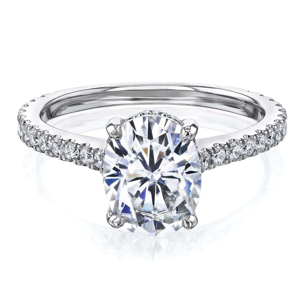 Kobelli 2.1ct Oval Forever One Moissanite Drop Halo Ring MZFOH62784OV-E/4W