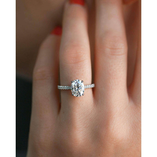 Kobelli 2.1ct Oval Moissanite Drop Halo Ring