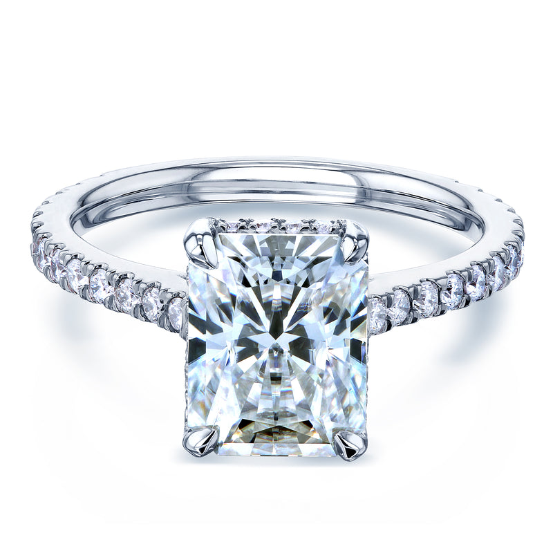 2.7ct Radiant Moissanite Drop Halo Ring