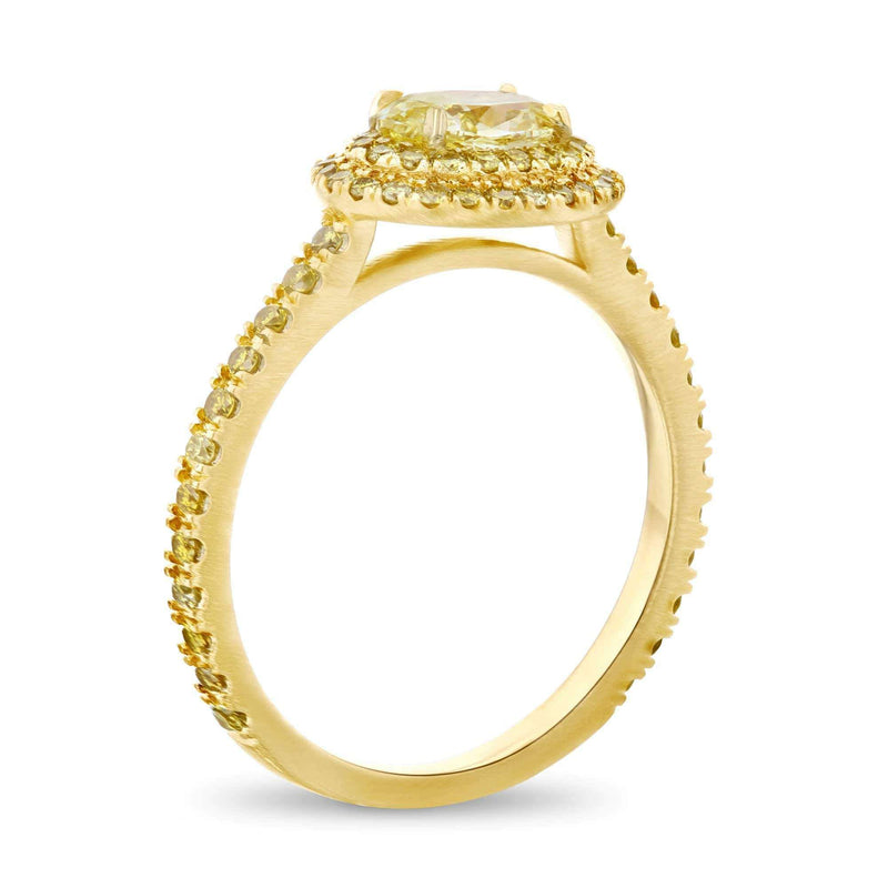 Kobelli Monochromatic Yellow East-West Diamond Cluster Ring