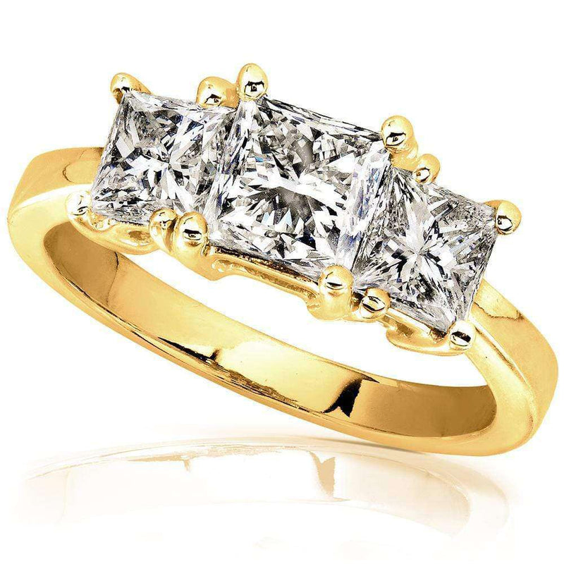Kobelli Diamond Three-Stone Engagement Ring 2 Carats (ctw) in 14K Gold (Certified) 6770-200-Y_5.0