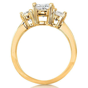 Diamond Three-Stone Engagement Ring 2 Carats (ctw) in 14K Gold (Certified)