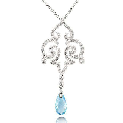 teardrop blue topaz and diamond vintage necklace