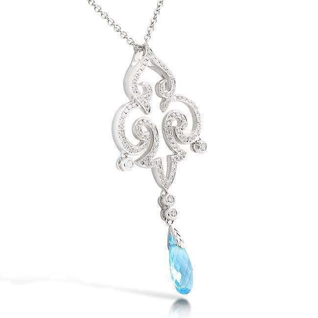Kobelli Pear Briolette Blue Topaz and Diamond Vintage Filigree Pendant Necklace C110BTX